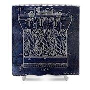 Champagne Bottle Freezer Patent 1902 Blue Shower Curtain