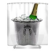 Champagne Bottle On Ice Shower Curtain