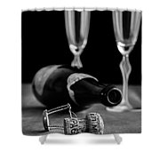 Champagne Bottle Still Life Shower Curtain by Edward Fielding
