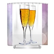 Champagne In Glasses Shower Curtain