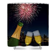 Champagne Toast With Portland Oregon Skyline Shower Curtain by JPLDesigns