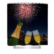 Champagne Toast With Portland Oregon Skyline Shower Curtain