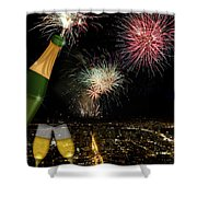 Champagne Toast With San Francisco Skyline At Night Shower Curtain