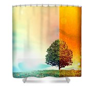Change Of The Seasons - The Moment When Summer Meets With Fall Shower Curtain