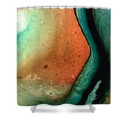 Green Abstract Art - Changing Course - Sharon Cummings Shower Curtain
