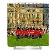 Changing Of The Guard In Front Of The Parliament Building In Ottawa-on Shower Curtain