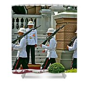 Changing Of The Guard Near Reception Hall At Grand Palace Of Thailand In Bangkok Shower Curtain