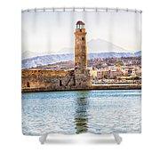 Chania Lighthouse Shower Curtain