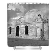 Chania Mosque Crete Black  And White Shower Curtain