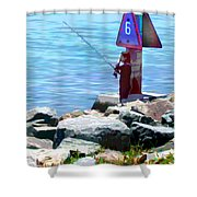 Channel Fishing Shower Curtain