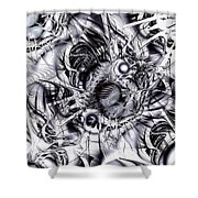 Chaotic Space Shower Curtain by Anastasiya Malakhova