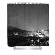 Chapel On The Rock Stary Night Portrait Bw Shower Curtain