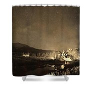 Chapel On The Rock Stary Night Portrait Monotone Shower Curtain by James BO  Insogna