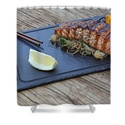 Char Grilled Salmon Shower Curtain