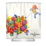 Characters In Balloon Shower Curtain