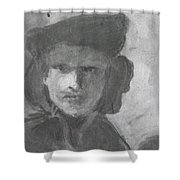 Charcoal Study Of Rembrandt  Self-portrait With Velvet Beret Shower Curtain