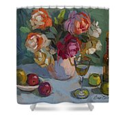 Chardonnay And Roses Shower Curtain