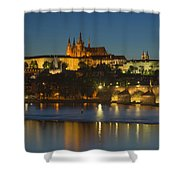 Charles Bridge And Prague Castle At Dusk  Shower Curtain