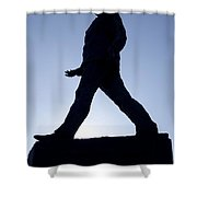 Charles De Gaulle Statue Silhouette On The Champs Elysees In Paris France Shower Curtain