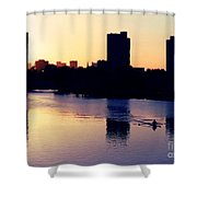 Charles River Rower At Dawn Shower Curtain by Kenny Glotfelty