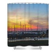 Charleston Harbor Sunset Shower Curtain