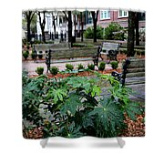 Charleston Waterfront Park Benches Shower Curtain by Carol Groenen