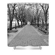 Charleston Waterfront Park Walkway - Black And White Shower Curtain