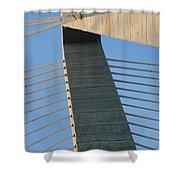Charleston's Cable Bridge Geometric Abstract Shower Curtain