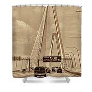 Charleston's Magnificent Cable Bridge In Sepia Shower Curtain