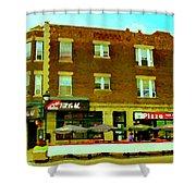 Charlevoix Pizza Et Chic Regal Rue Centre Scenes De Rue Pointe St Charles City Scenes Carole Spandau Shower Curtain