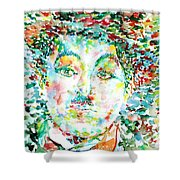 Charlie Chaplin - Watercolor Portrait Shower Curtain