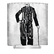 Charlie Chaplin Typography Poster Shower Curtain by Ayse Deniz