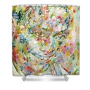Charlie Parker Watercolor Portrait Shower Curtain
