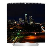 Charlotte Nc At Night Shower Curtain by Chris Flees