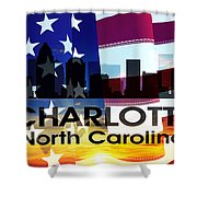 Charlotte Nc Patriotic Large Cityscape Shower Curtain