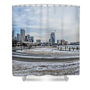 Charlotte North Carolina Skyline In Winter Shower Curtain
