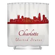 Charlotte Skyline In Red Shower Curtain
