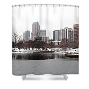 Charlotte Skyline In Snow Shower Curtain