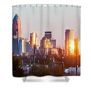 Charlotte Skyline In The Evening Before Sunset Shower Curtain