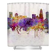 Charlotte Skyline In Watercolor Background Shower Curtain