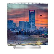 Charlotte The Queen City Skyline At Sunrise Shower Curtain