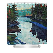 Charlton Lake Camp Sunrise Shower Curtain