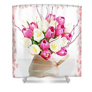 Charming Heart Tulips Shower Curtain by Debra  Miller
