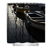 Charming Old Wooden Boats In The Harbor Shower Curtain