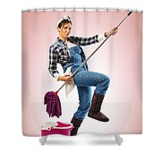 Charwoman On Pink Shower Curtain
