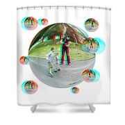 Chasing Bubbles - Red/cyan Filtered 3d Glasses Required Shower Curtain