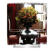 Chateau De Chenonceau Flowers And Chairs Shower Curtain