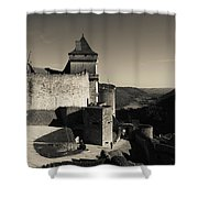 Chateau De Castelnaud With Hot Air Shower Curtain
