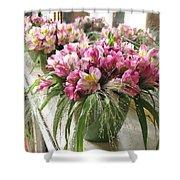 Chateau De Chenonceau Flowers On Mantle Shower Curtain