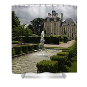 Chateau De Cheverny With Garden Fountain Shower Curtain